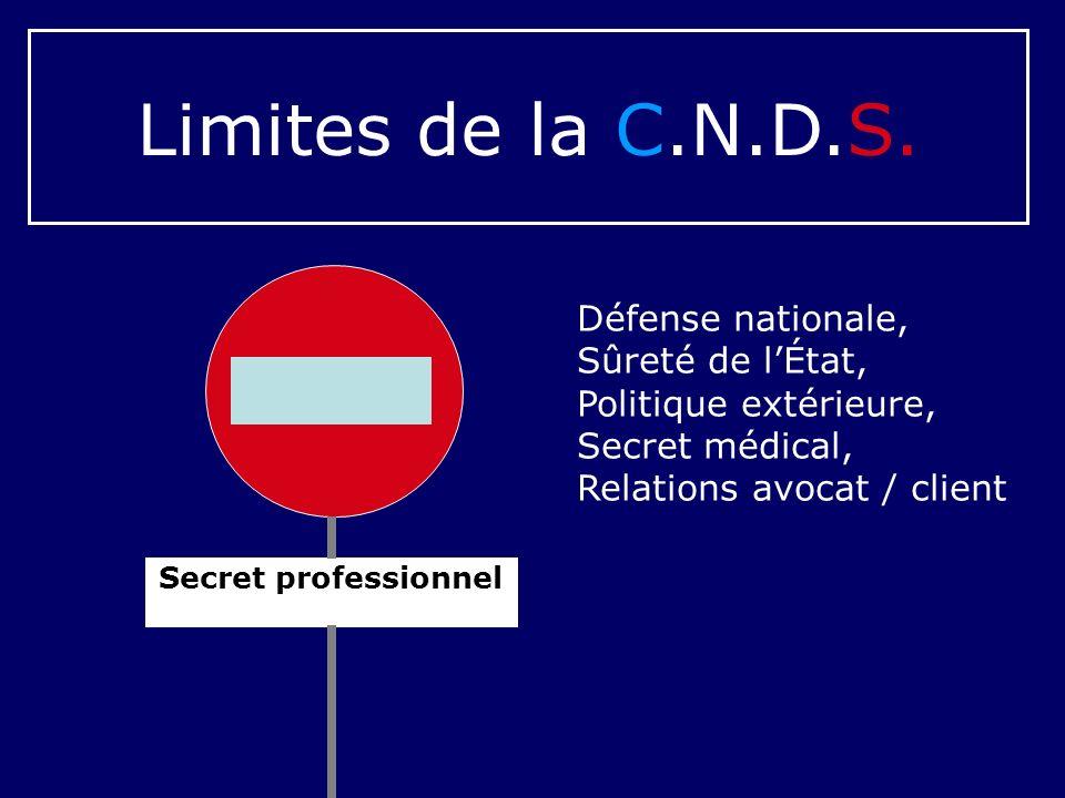Limites de la C.N.D.S. Défense nationale, Sûreté de l'État,