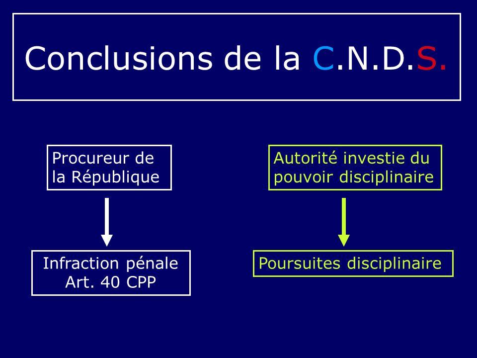 Conclusions de la C.N.D.S. Procureur de la République
