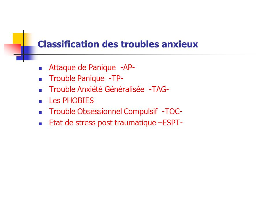 Classification des troubles anxieux