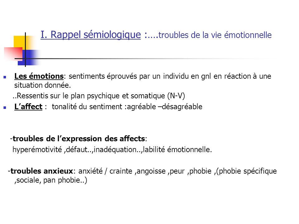 I. Rappel sémiologique :….troubles de la vie émotionnelle