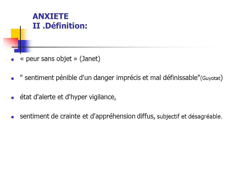 ANXIETE II .Définition: