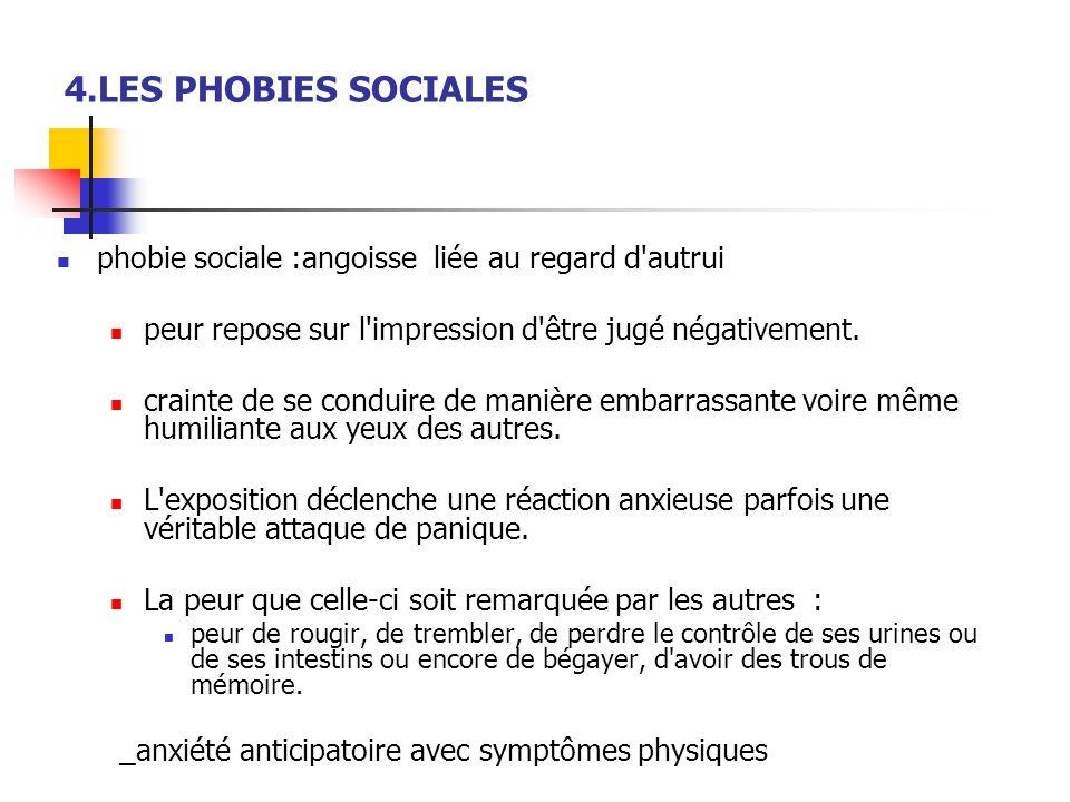 4.LES PHOBIES SOCIALES phobie sociale :angoisse liée au regard d autrui. peur repose sur l impression d être jugé négativement.