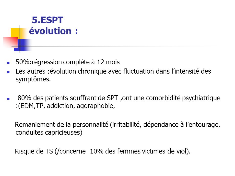 5.ESPT évolution : 50%:régression complète à 12 mois