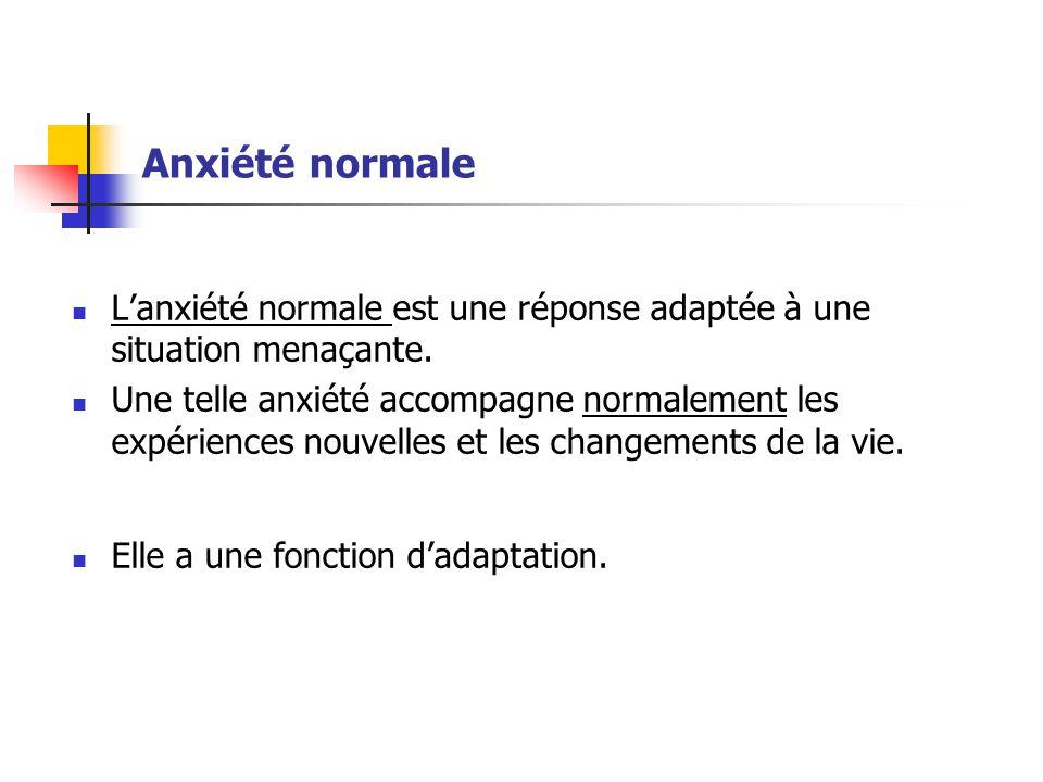 Anxiété normale L'anxiété normale est une réponse adaptée à une situation menaçante.