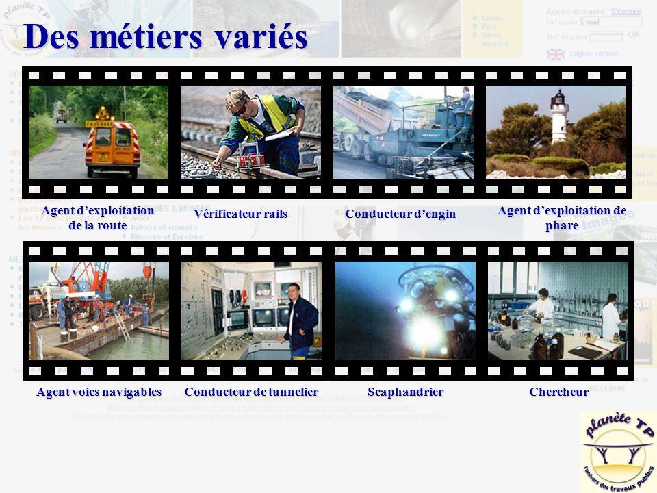 Des métiers variés Agent d'exploitation de la route Vérificateur rails