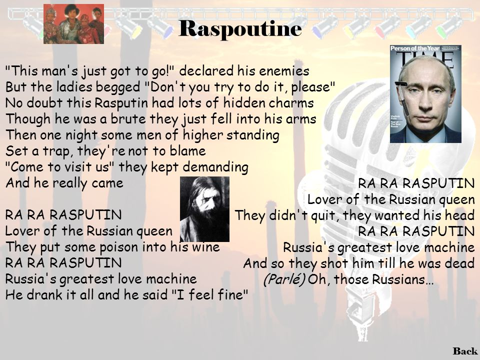 (Parlé) Oh, those Russians…