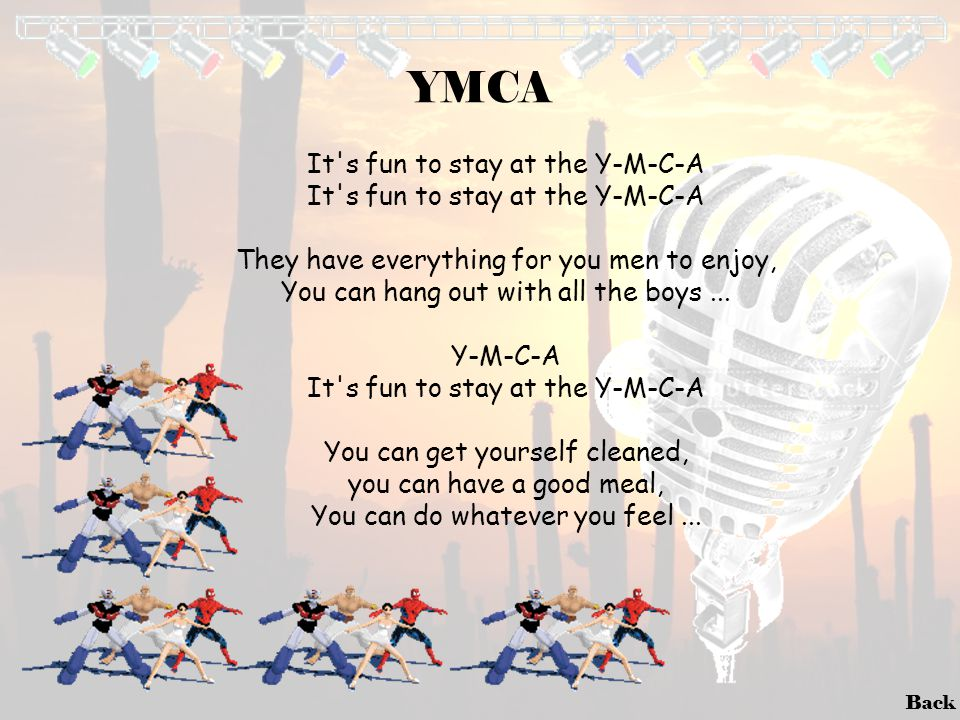 YMCA It s fun to stay at the Y-M-C-A
