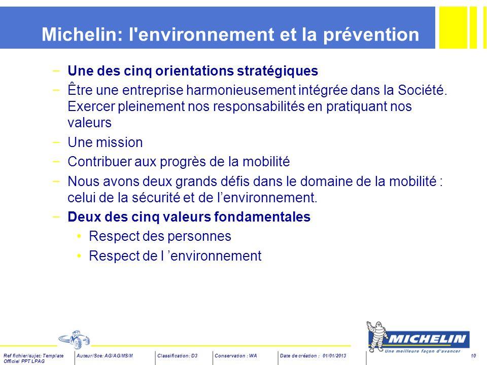 Michelin: l environnement et la prévention