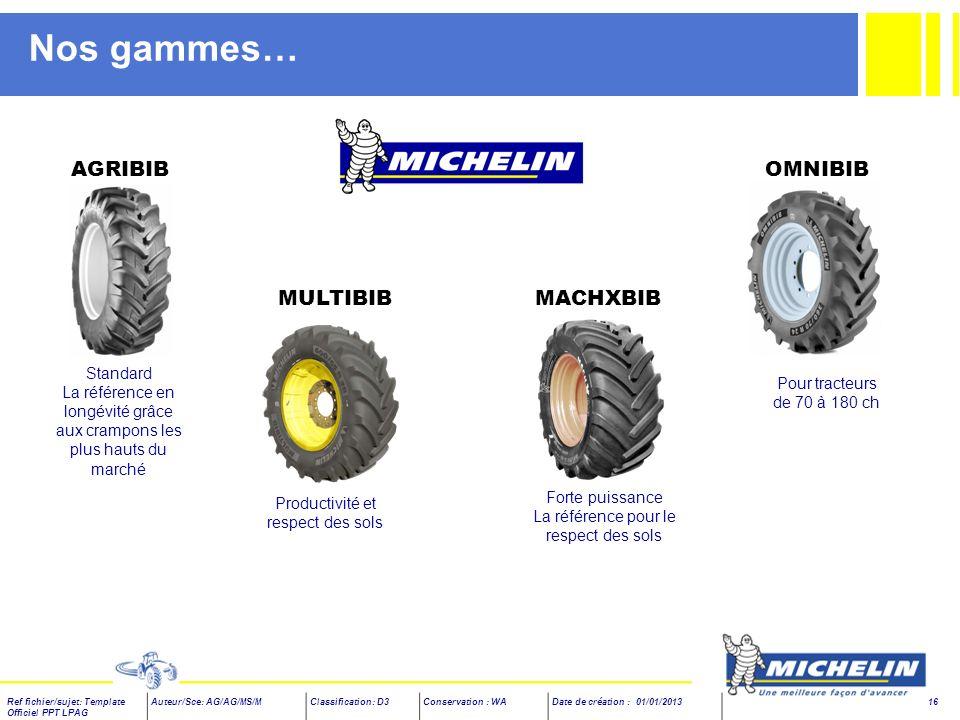 Nos gammes… AGRIBIB OMNIBIB MULTIBIB MACHXBIB Standard