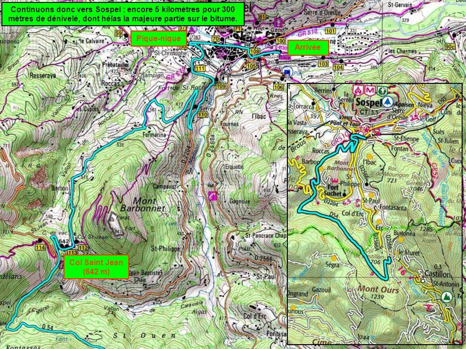 Continuons donc vers Sospel : encore 5 kilomètres pour 300 mètres de dénivelé, dont hélas la majeure partie sur le bitume.