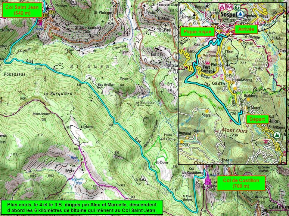 Col Saint Jean (642 m) Arrivée. Pique-nique. Départ. Col de Castillon (706 m)