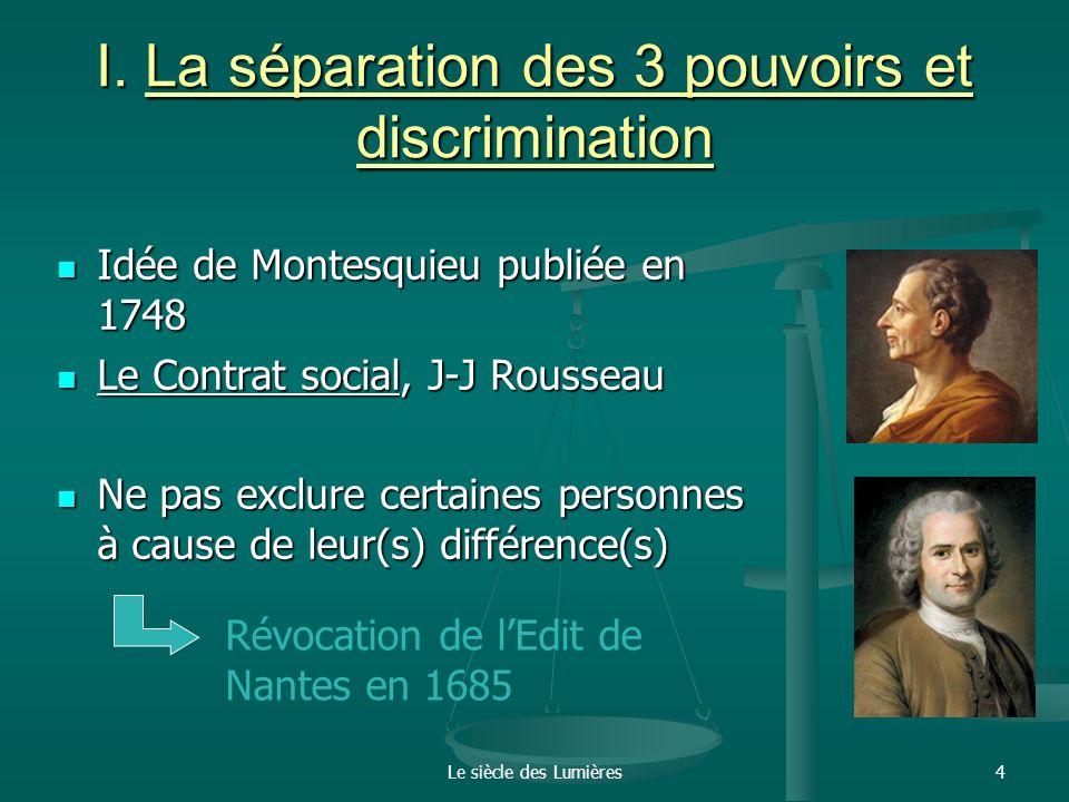 I. La séparation des 3 pouvoirs et discrimination