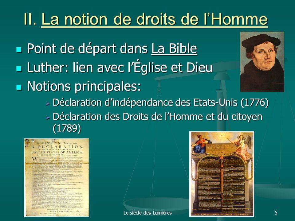 II. La notion de droits de l'Homme