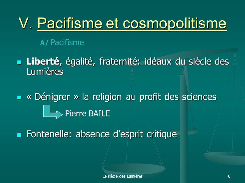 V. Pacifisme et cosmopolitisme