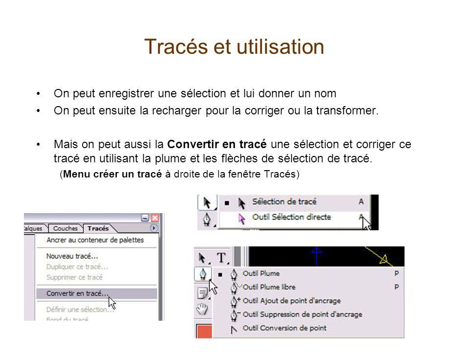 Tracés et utilisation On peut enregistrer une sélection et lui donner un nom. On peut ensuite la recharger pour la corriger ou la transformer.