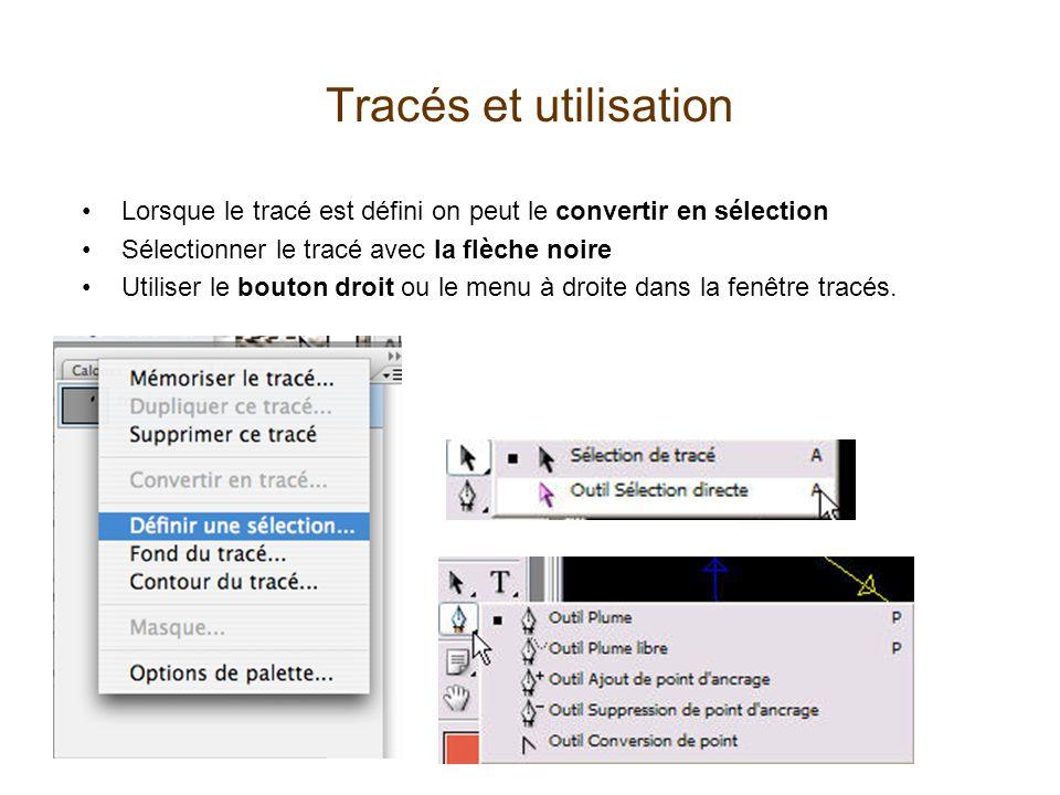Tracés et utilisation Lorsque le tracé est défini on peut le convertir en sélection. Sélectionner le tracé avec la flèche noire.