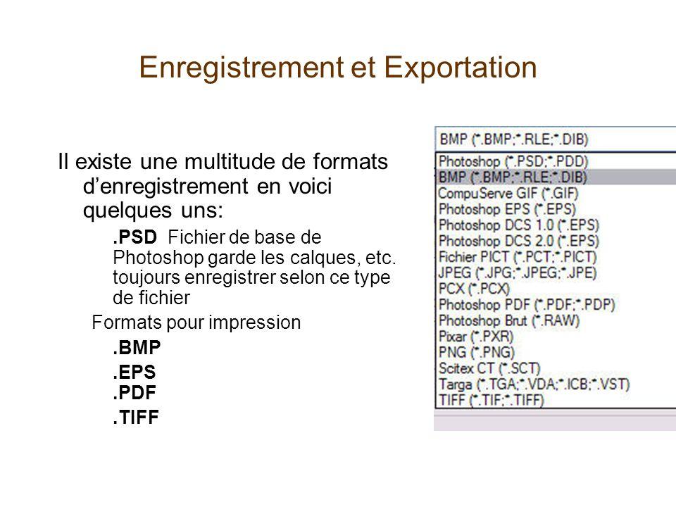 Enregistrement et Exportation