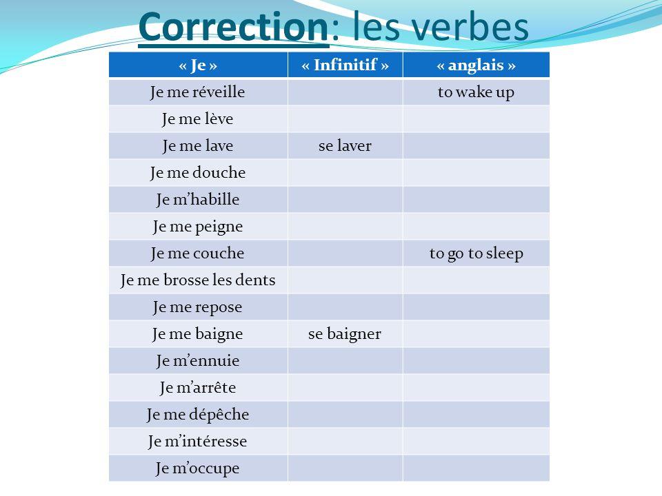 Correction: les verbes