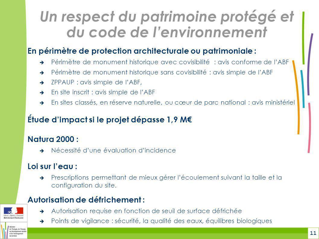 Un respect du patrimoine protégé et du code de l'environnement