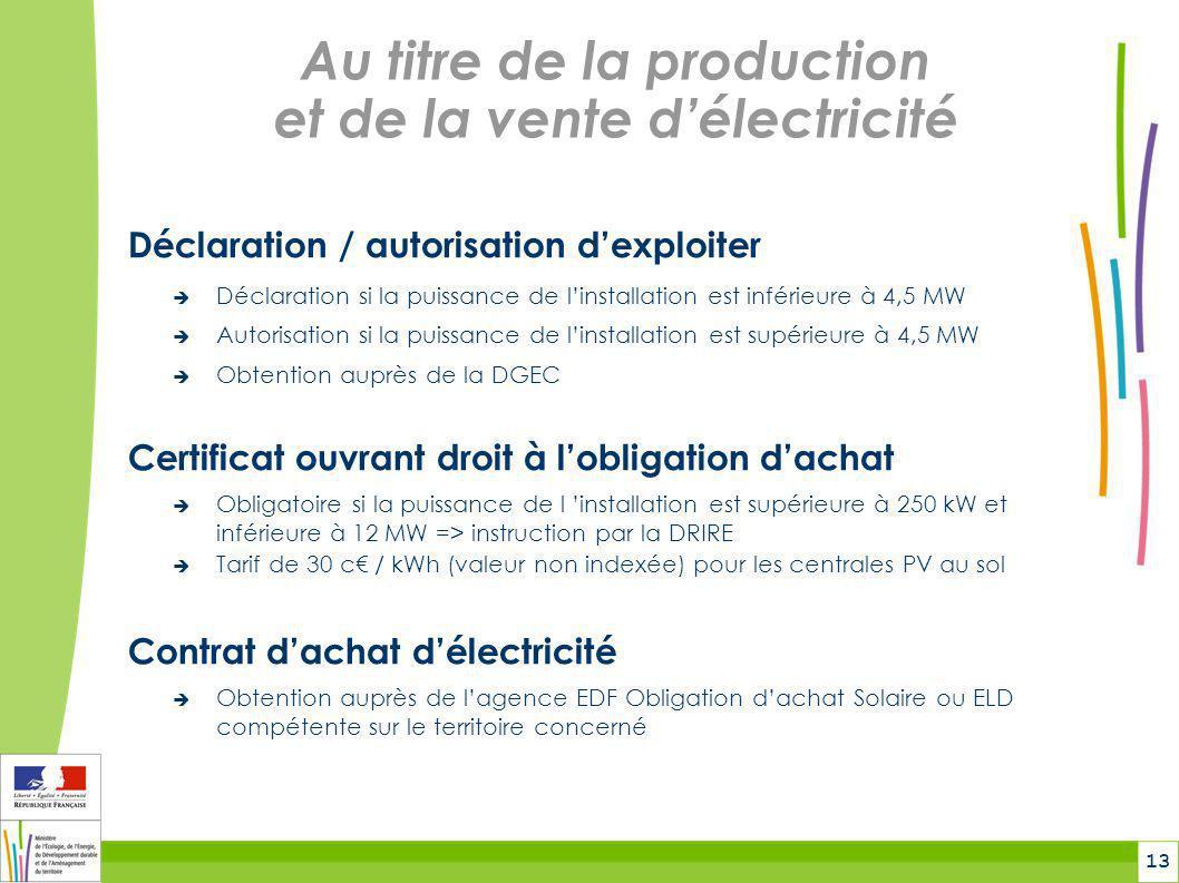 Au titre de la production et de la vente d'électricité