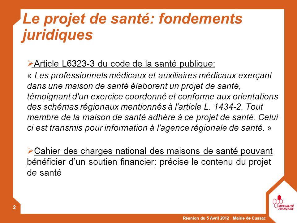 Le projet de santé: fondements juridiques
