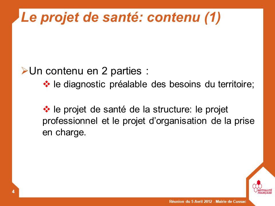 Le projet de santé: contenu (1)