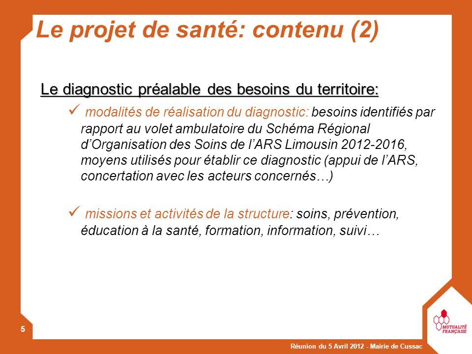 Le projet de santé: contenu (2)