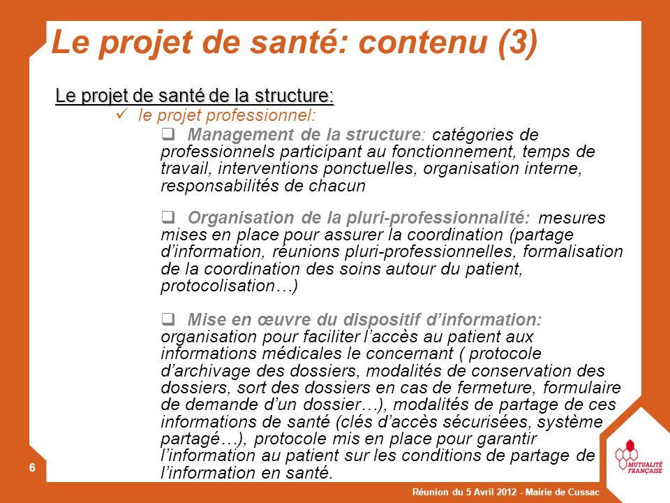 Le projet de santé: contenu (3)