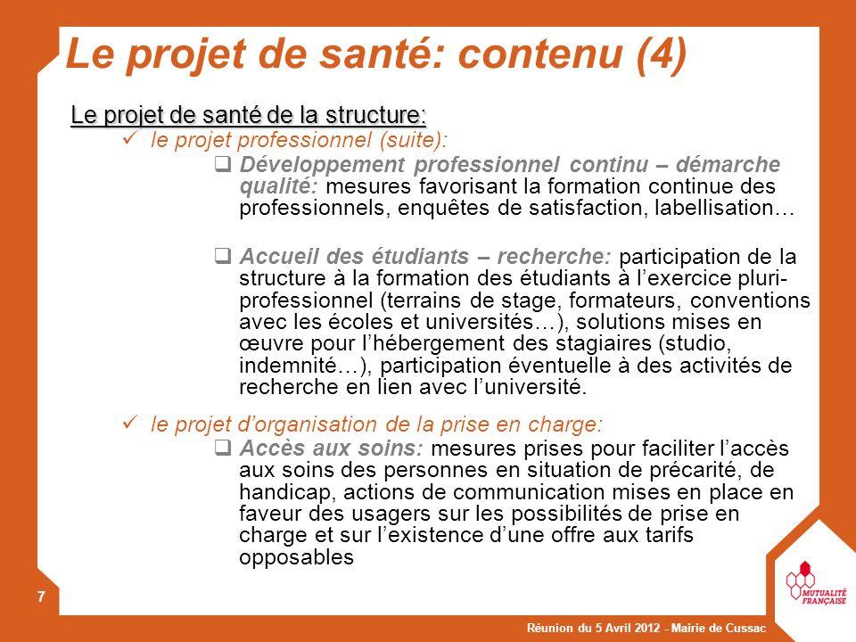Le projet de santé: contenu (4)