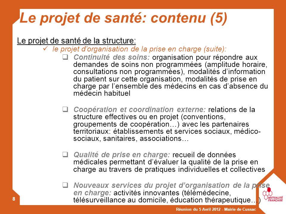 Le projet de santé: contenu (5)