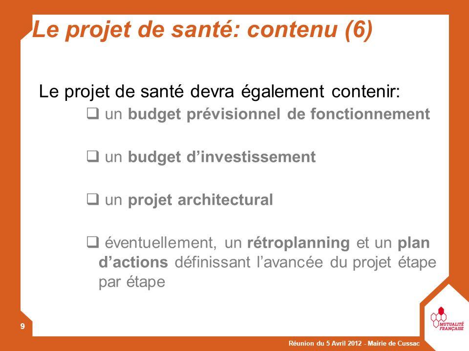 Le projet de santé: contenu (6)