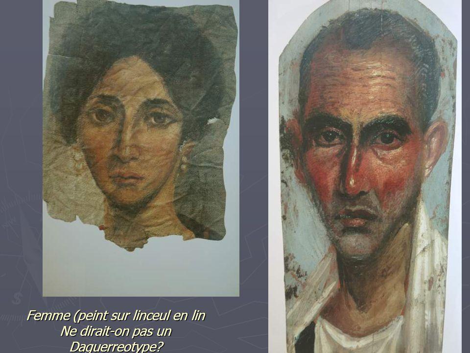 Femme (peint sur linceul en lin Ne dirait-on pas un Daguerreotype