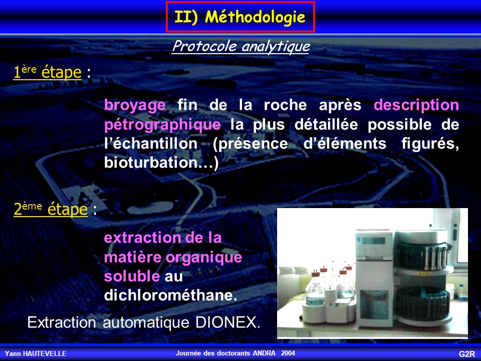 extraction de la matière organique soluble au dichlorométhane.