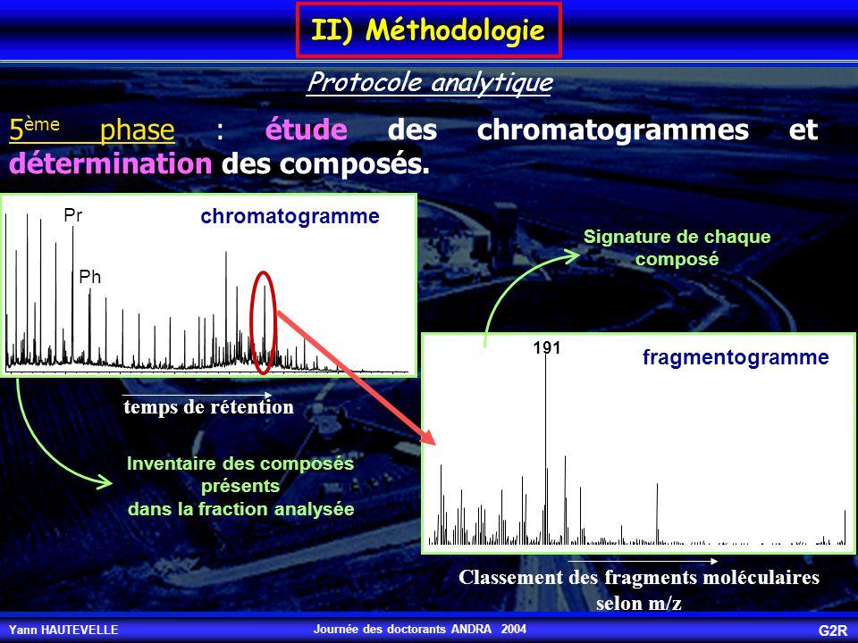 5ème phase : étude des chromatogrammes et détermination des composés.