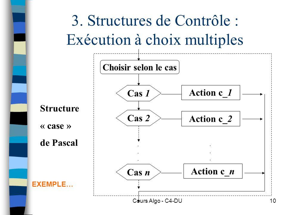 3. Structures de Contrôle : Exécution à choix multiples