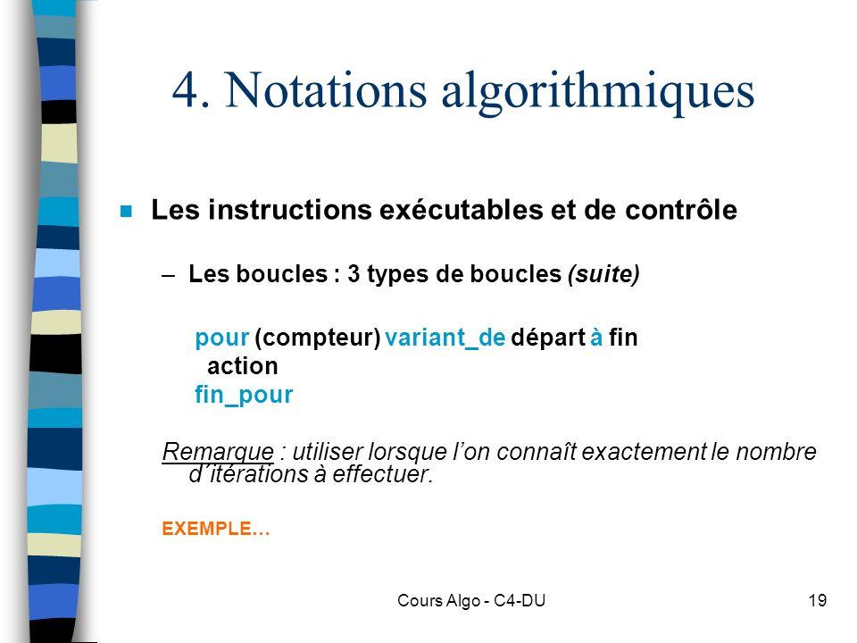 4. Notations algorithmiques