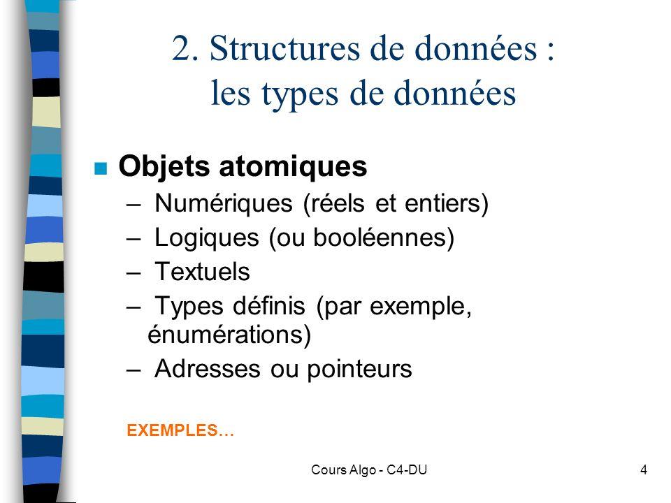 2. Structures de données : les types de données
