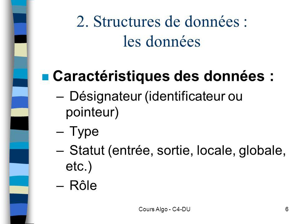 2. Structures de données : les données