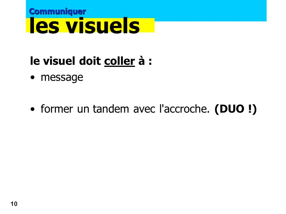 les visuels le visuel doit coller à : message
