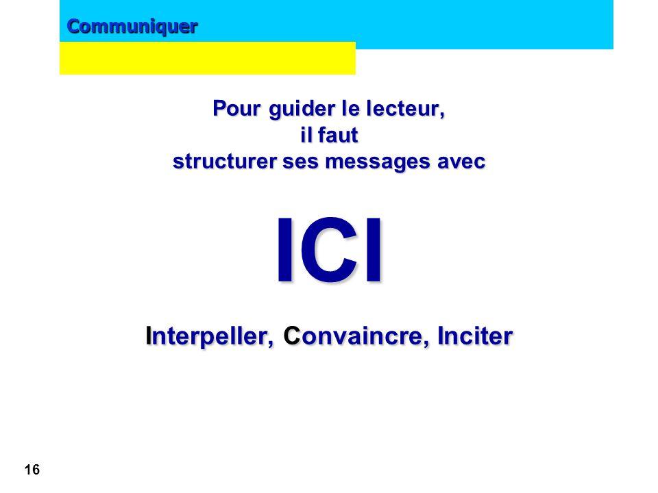 structurer ses messages avec Interpeller, Convaincre, Inciter