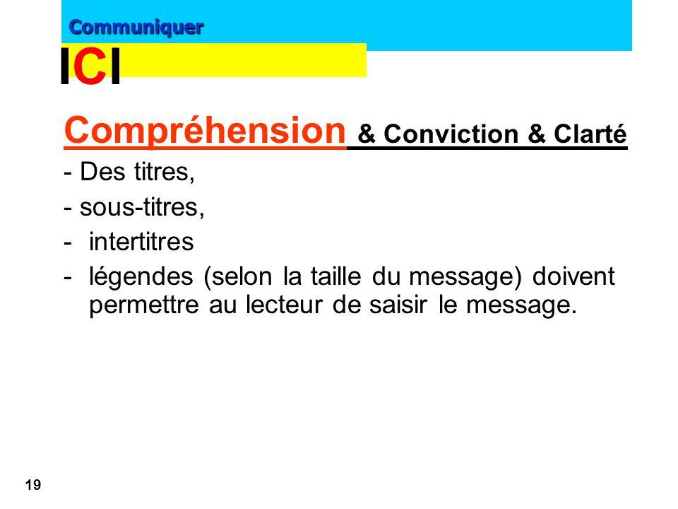 ICI Compréhension & Conviction & Clarté - Des titres, - sous-titres,