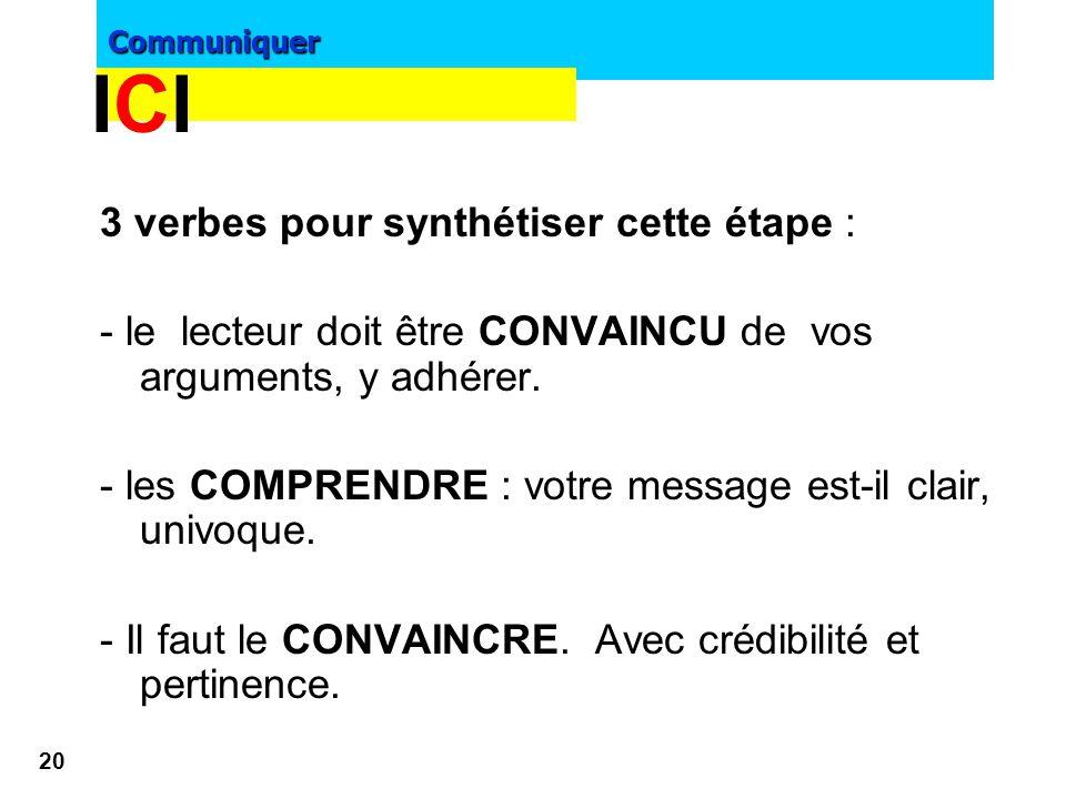 ICI 3 verbes pour synthétiser cette étape :