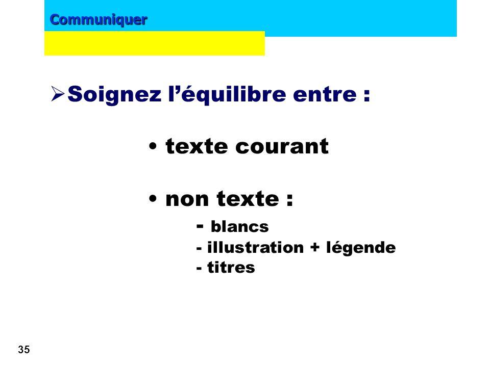 Soignez l'équilibre entre : • texte courant • non texte : - blancs