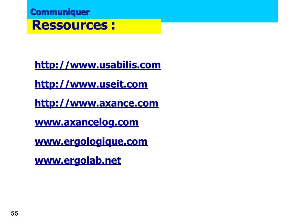 Ressources : http://www.usabilis.com http://www.useit.com