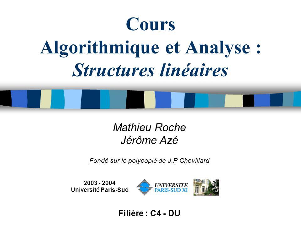 Cours Algorithmique et Analyse : Structures linéaires