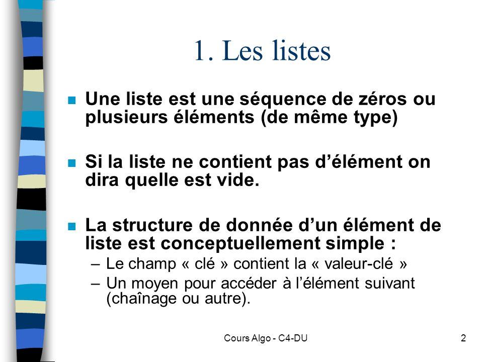 1. Les listes Une liste est une séquence de zéros ou plusieurs éléments (de même type)