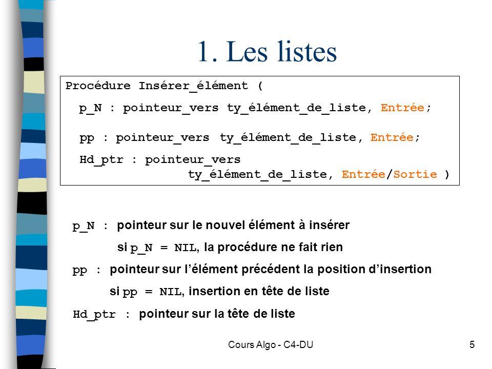 1. Les listes Procédure Insérer_élément (