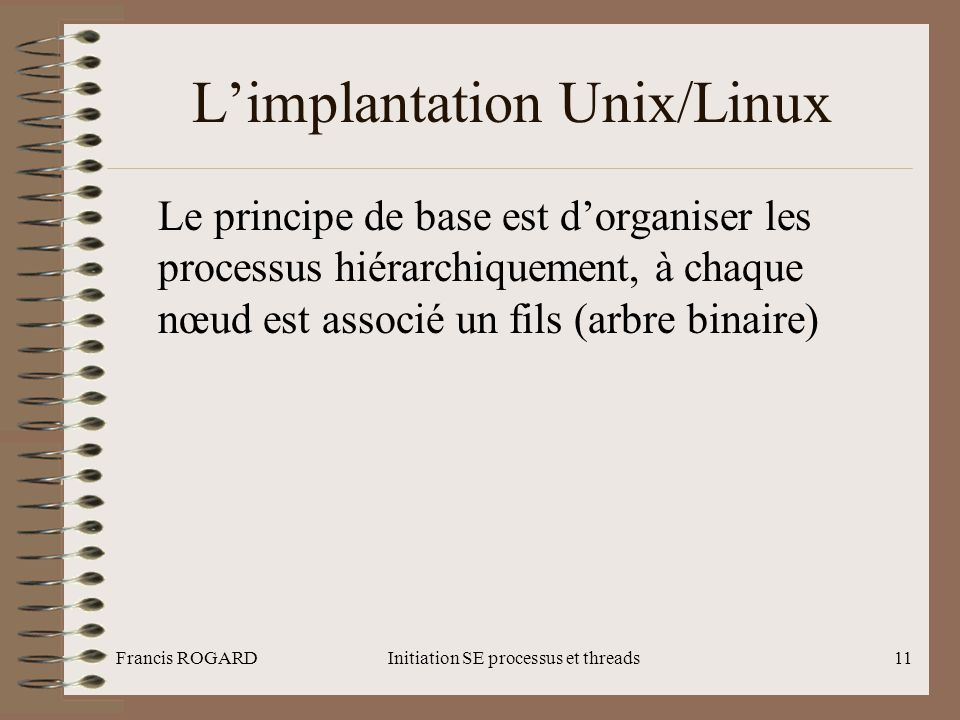 L'implantation Unix/Linux