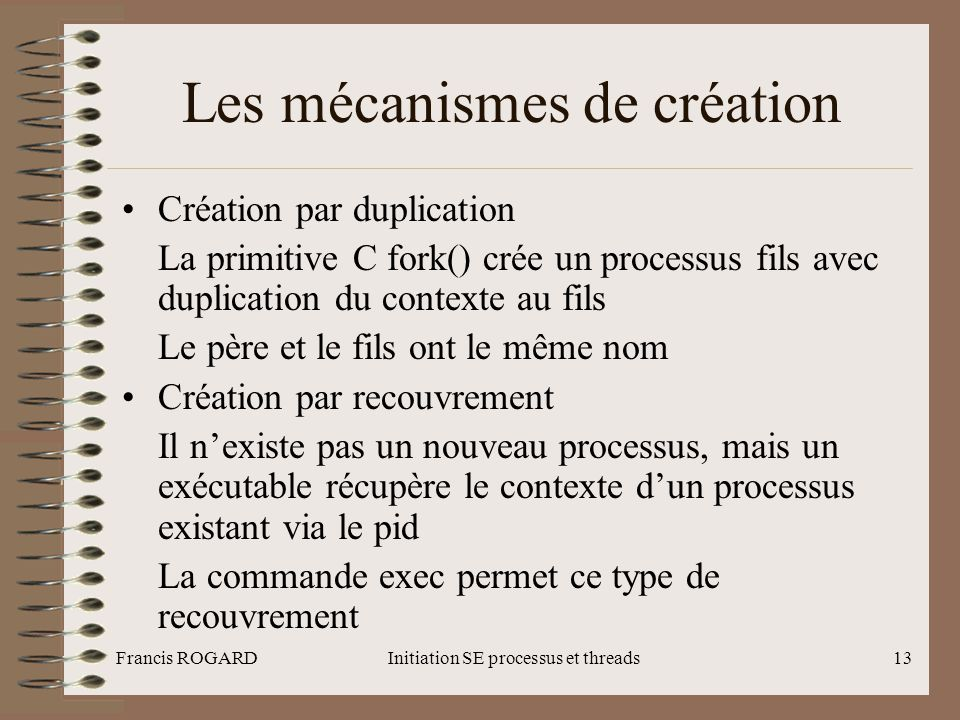 Les mécanismes de création
