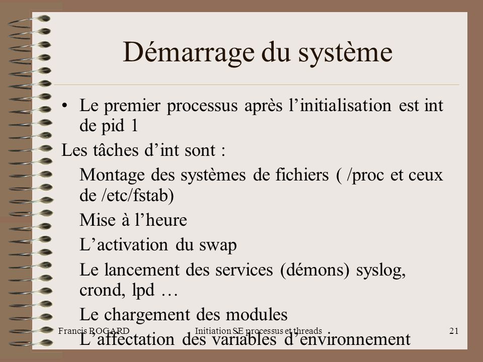 Initiation SE processus et threads
